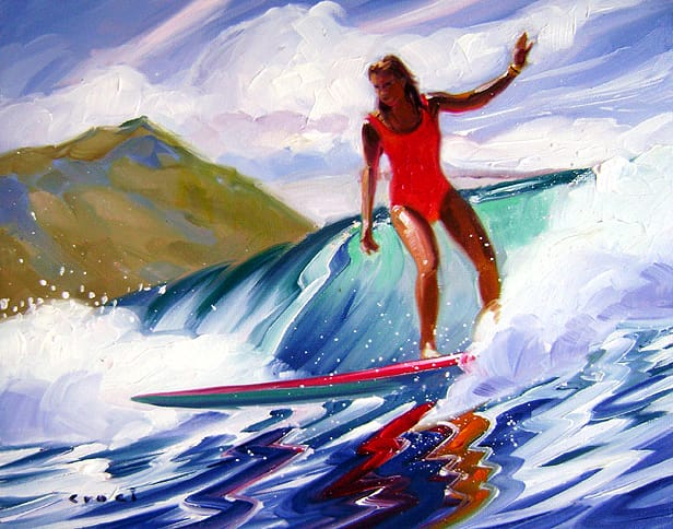 Canoe's surf session by Ron Croci